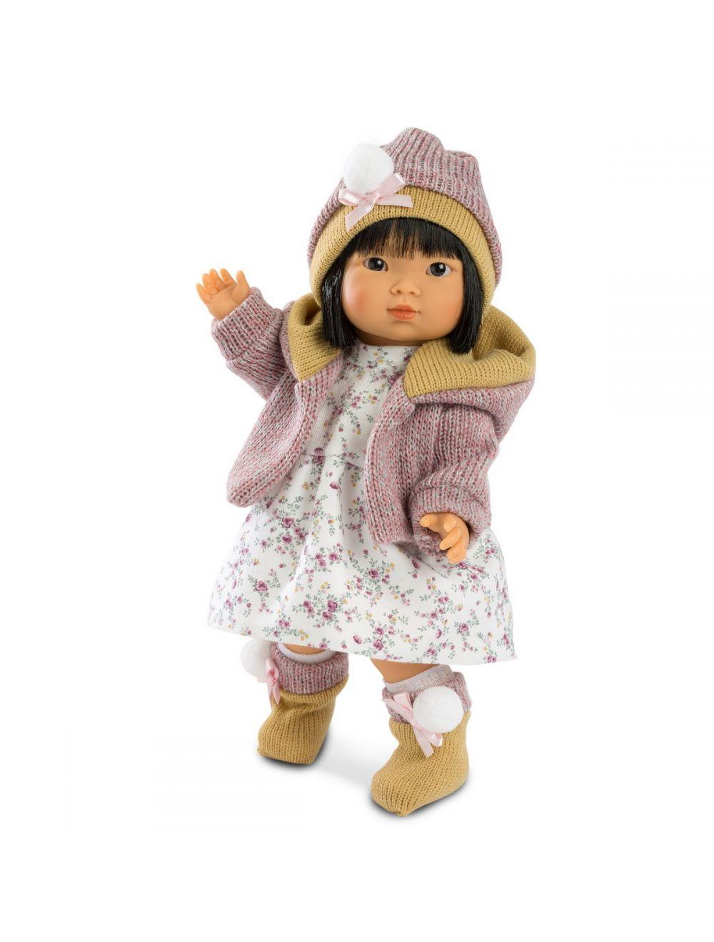 Llorens Lalka Valeria Azjatka 28 cm w fioletowej bluzie