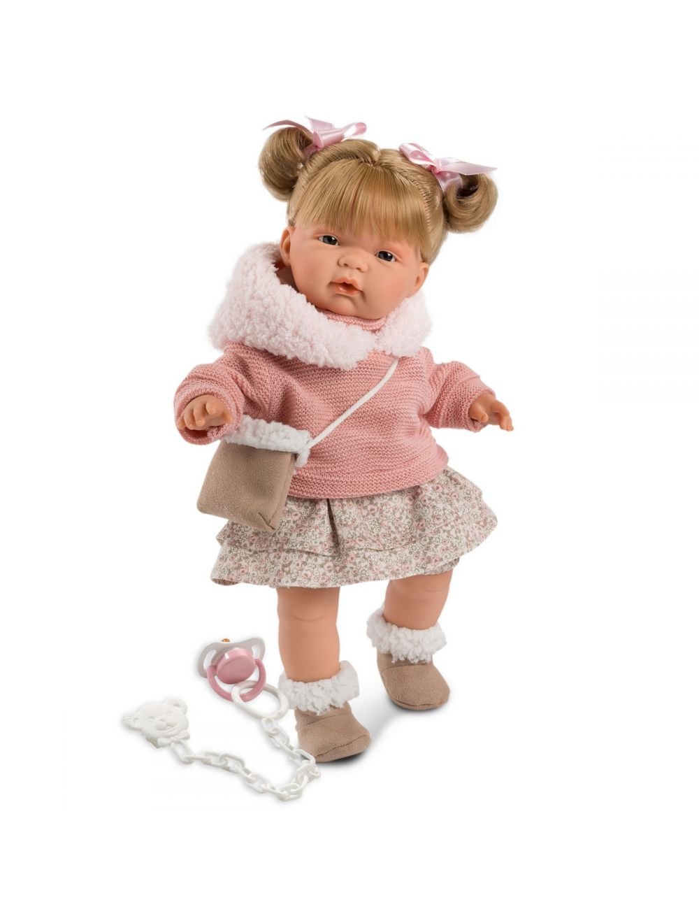 Llorens lalka płacząca Joelle 38 cm w różowym sweterku