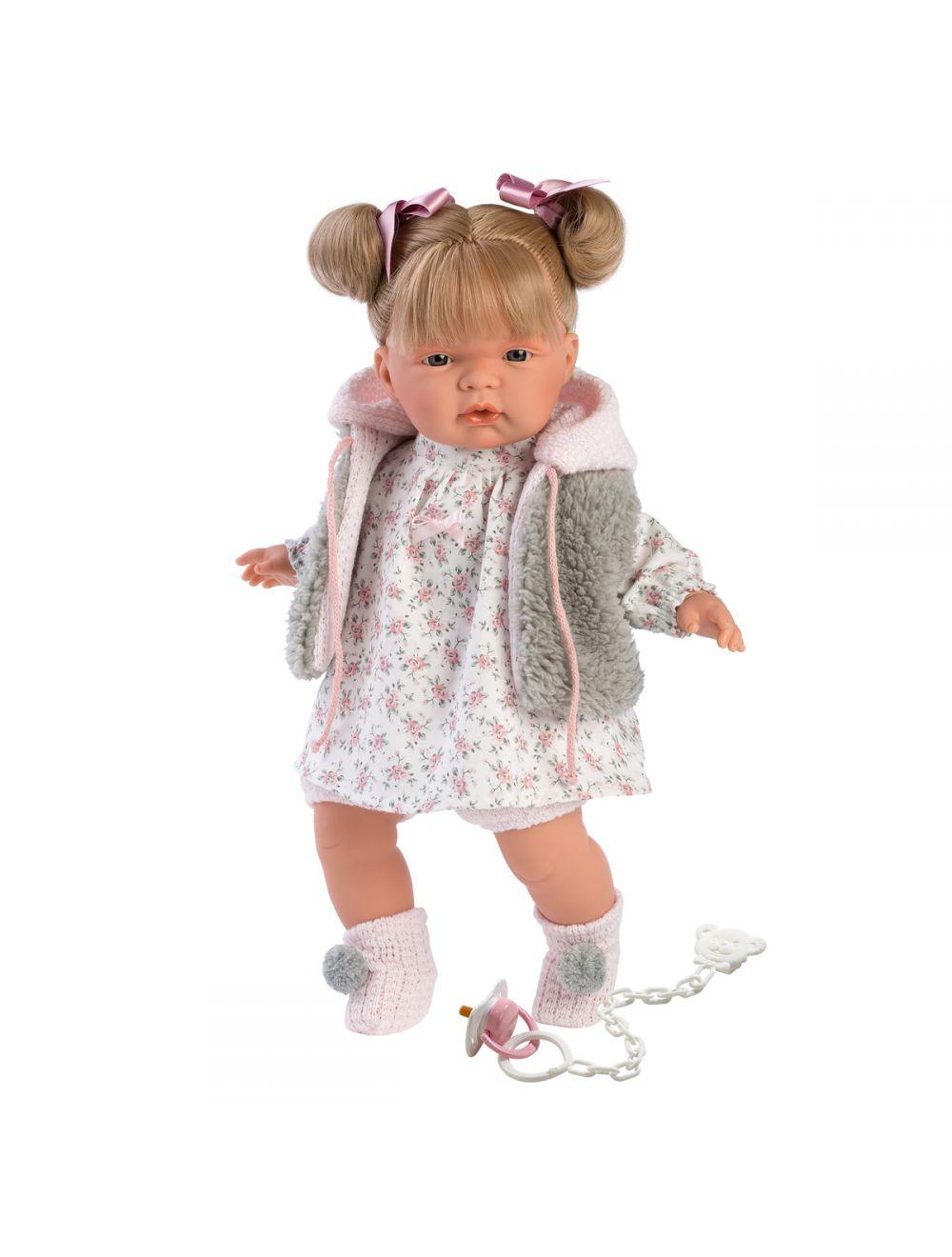 Llorens 38332 Lalka płacząca Joelle blondynka 38 cm szare futerko