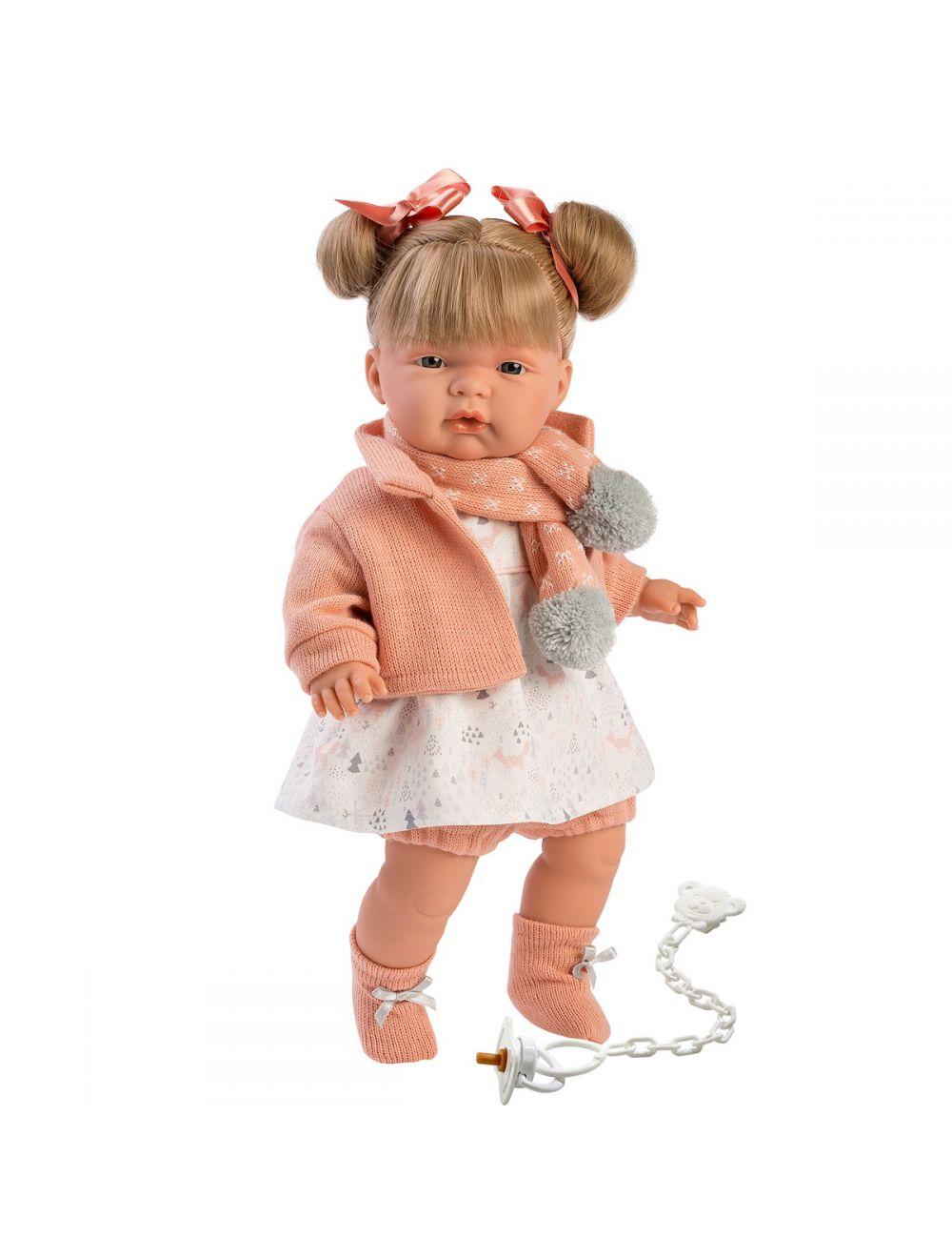 Llorens 38334 Lalka płacząca Joelle blondynka 38 cm łososiowa