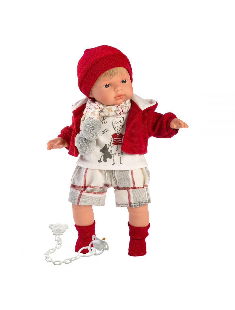Llorens 38555 Lalka płacząca Sasha 38 cm czerwona bluza i czapka
