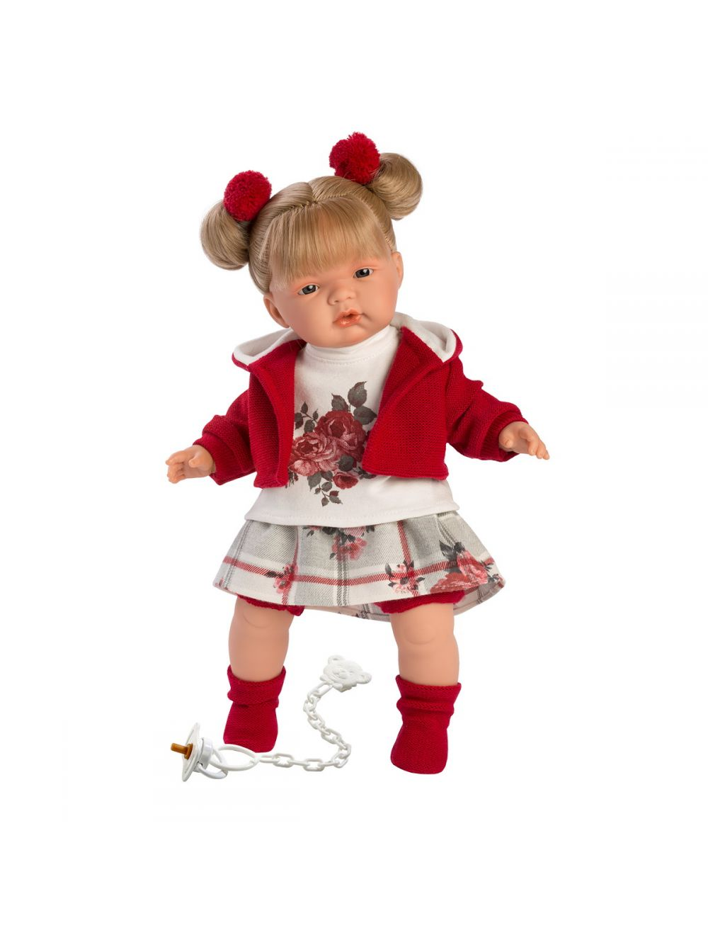 Llorens 38556 Lalka płacząca Joelle blondynka 38 cm czerowna bluza i gumki