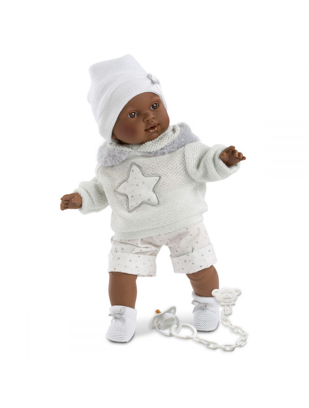 Llorens 38615 Lalka płacząca Sirham 38 cm biała bluzka i czapka