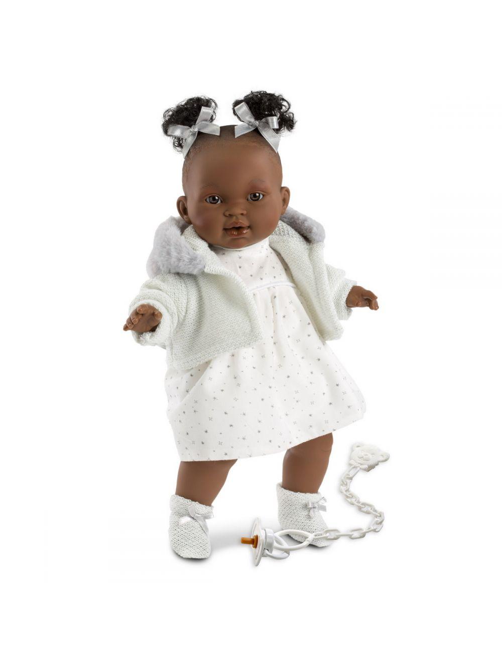 Llorens 38616 Lalka płacząca Diara 38 cm biała sukienka