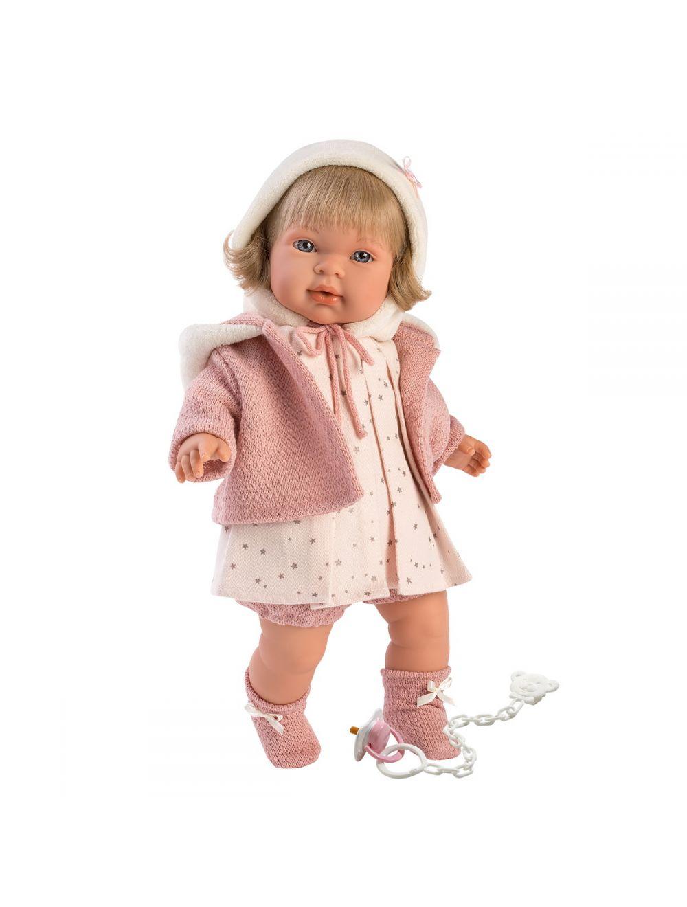 Llorens 42146 Lalka płacząca Carla 42 cm blondynka różowa bluza