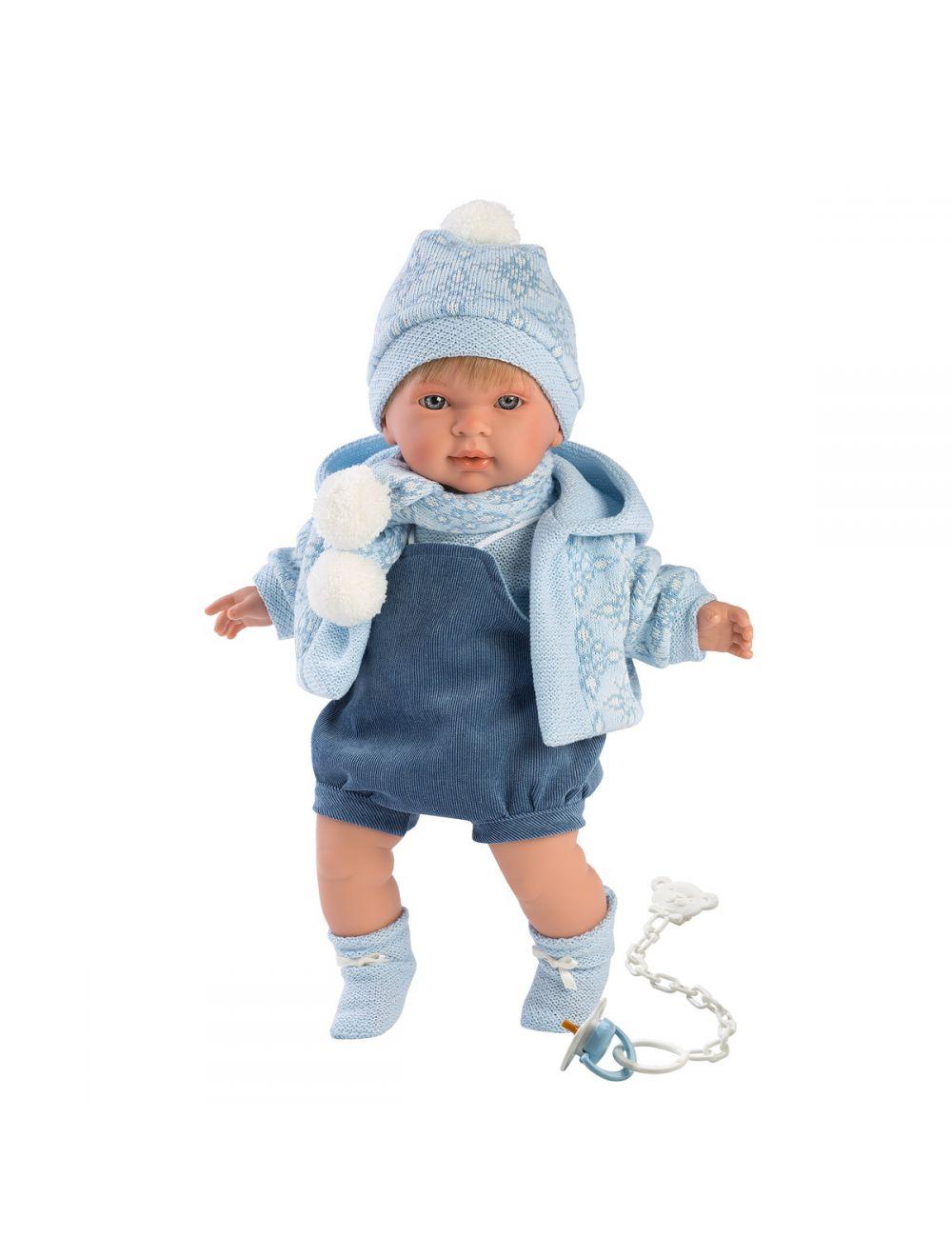 Llorens 42149 Lalka płacząca Miguel 42 cm chłopiec niebieska bluza