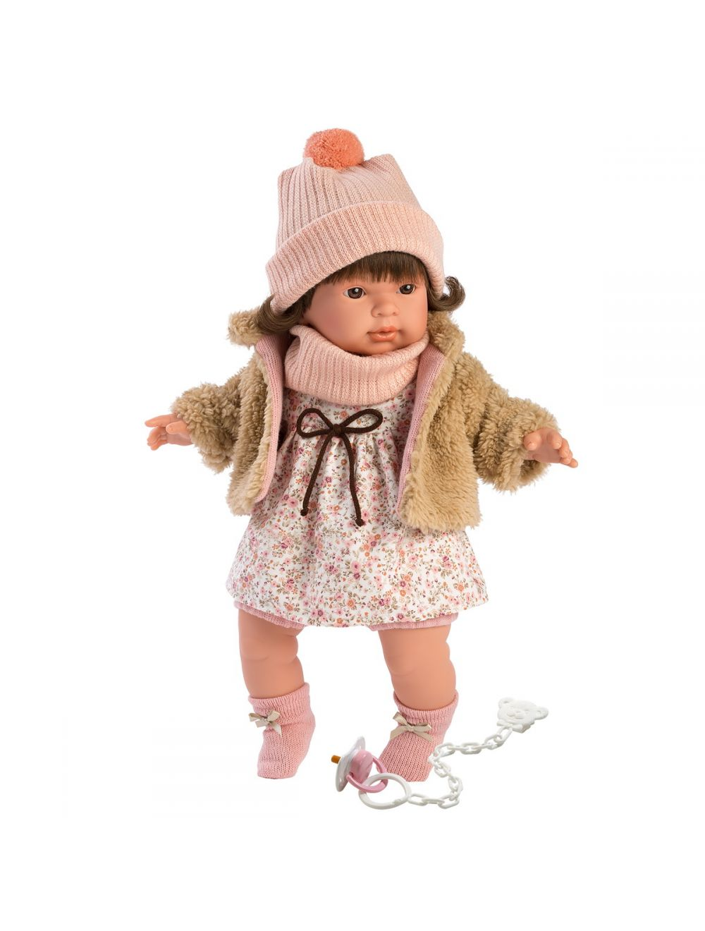 Llorens 42152 Lalka płacząca Pippa 42 cm brunetka beżowe futerko