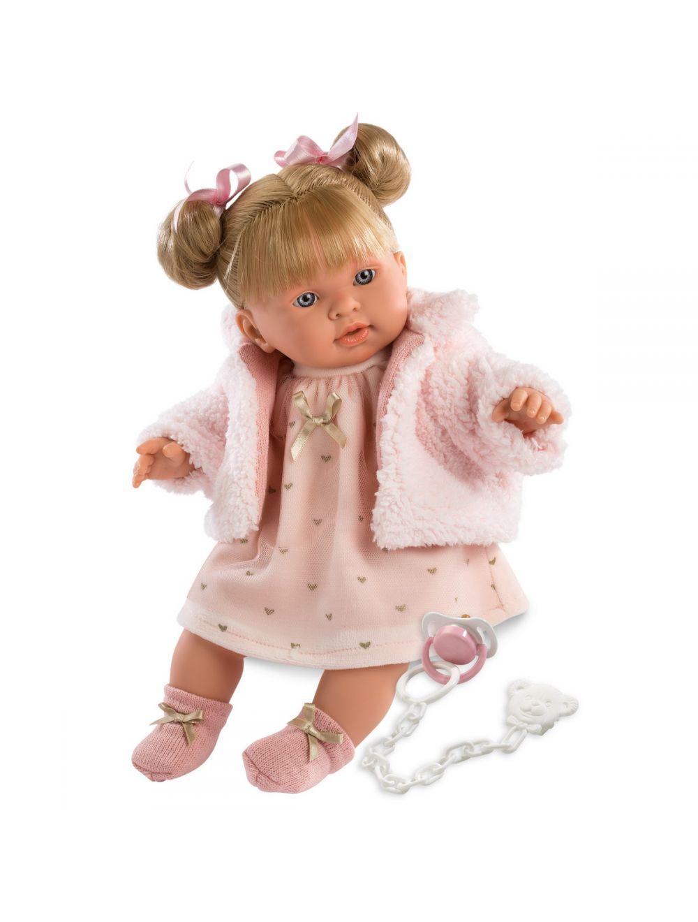 Llorens 42258 Lalka płacząca Alexandra 42 cm blondynka różowa sukienka