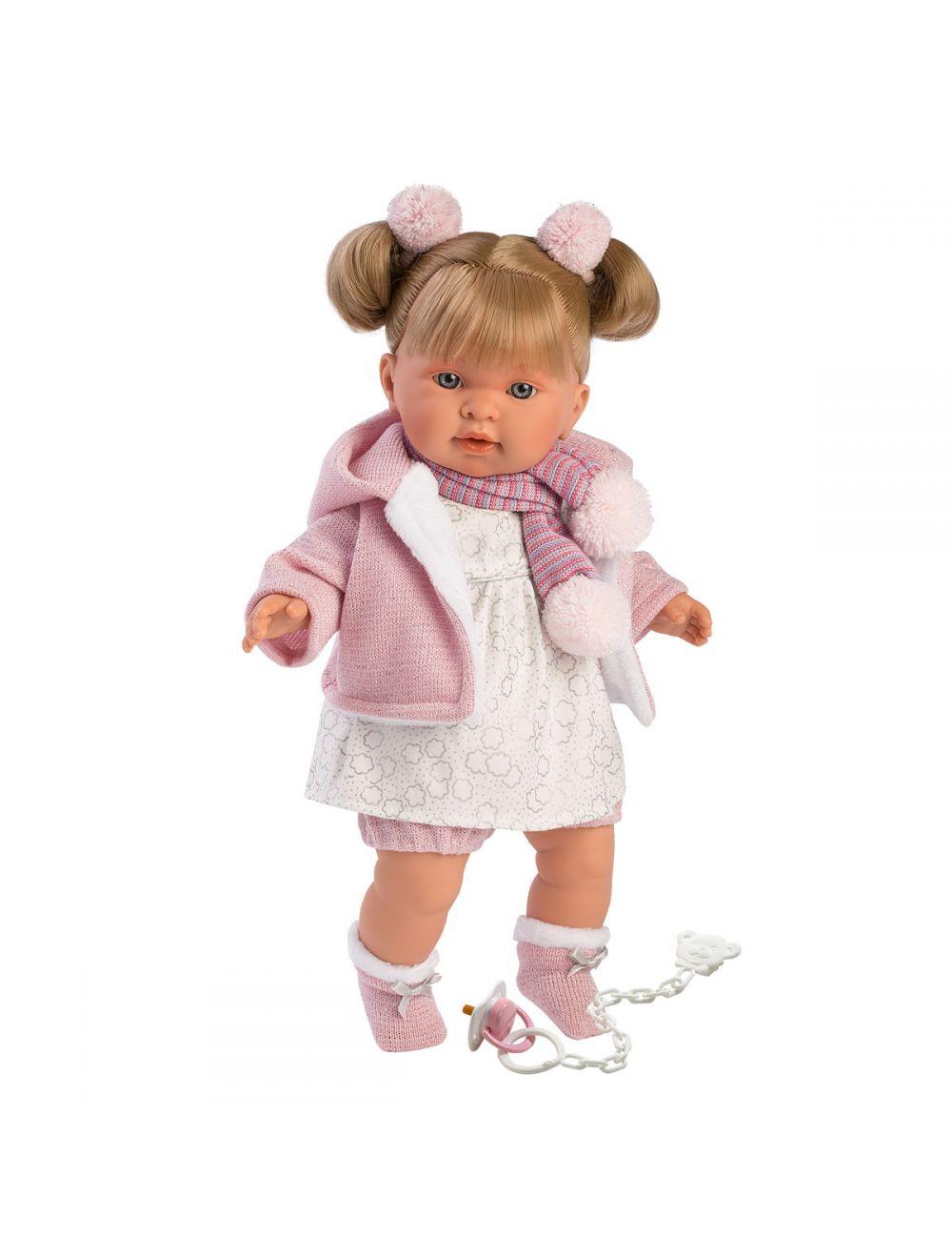Llorens 42262 Lalka płacząca Alexandra 42 cm blondynka szalik w paski