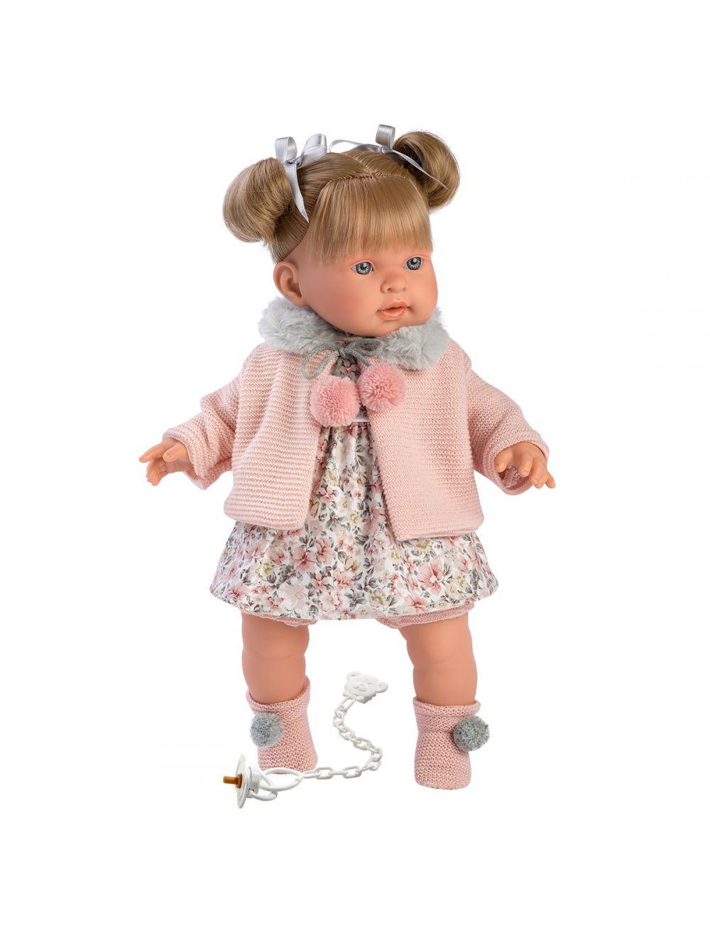 Llorens 42264 Lalka płacząca Alexandra 42 cm blondynka różowy sweterek