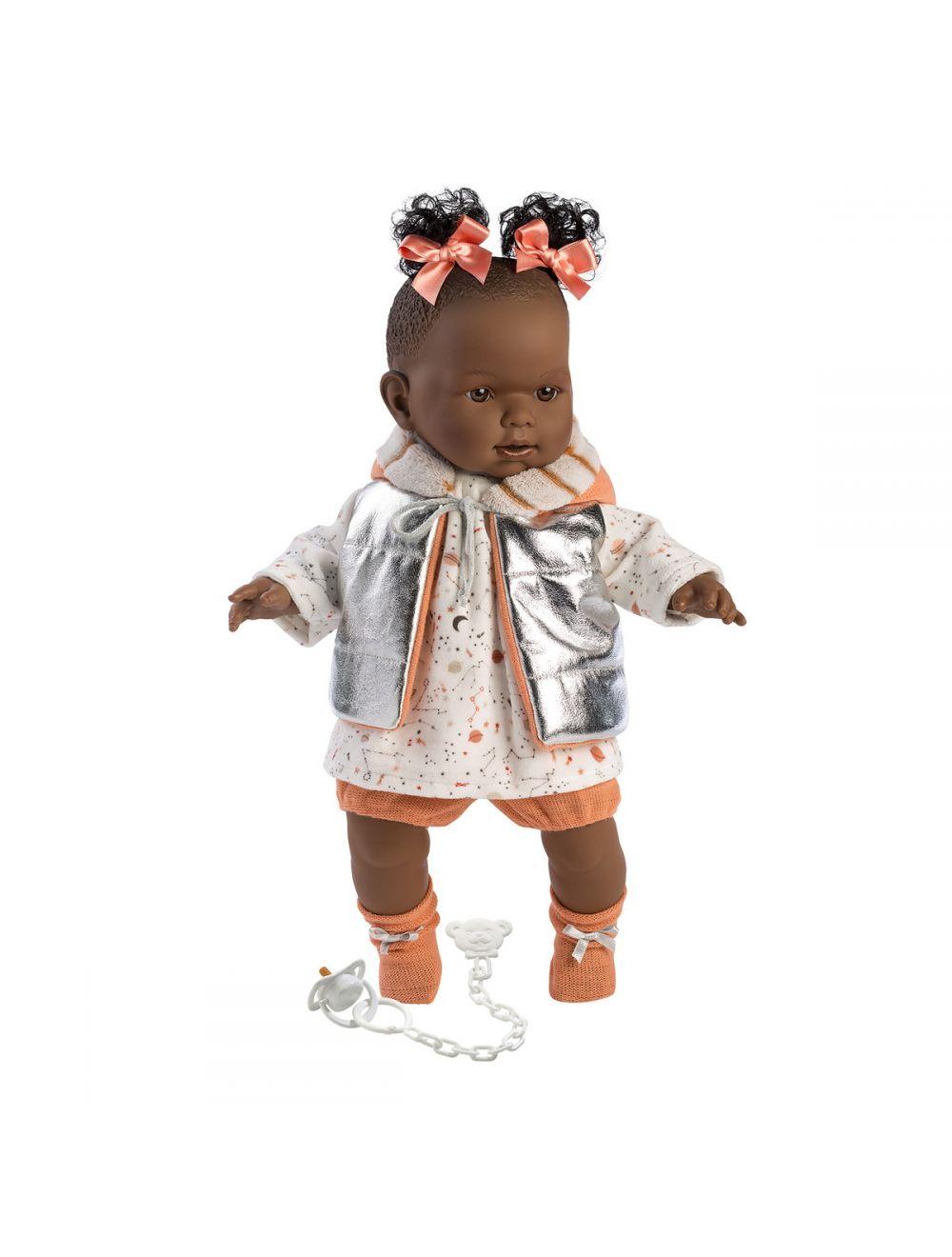 Llorens 42642 Lalka płacząca Nicole 42 cm pomarańczowe kokardy