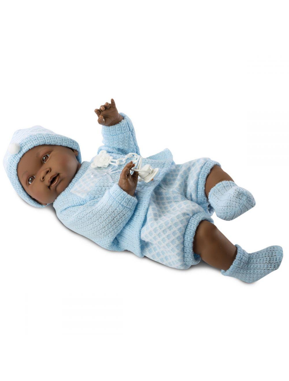 Llorens 45025 bobas Noe 45 cm błękitny sweterek ciemnoskóry FB