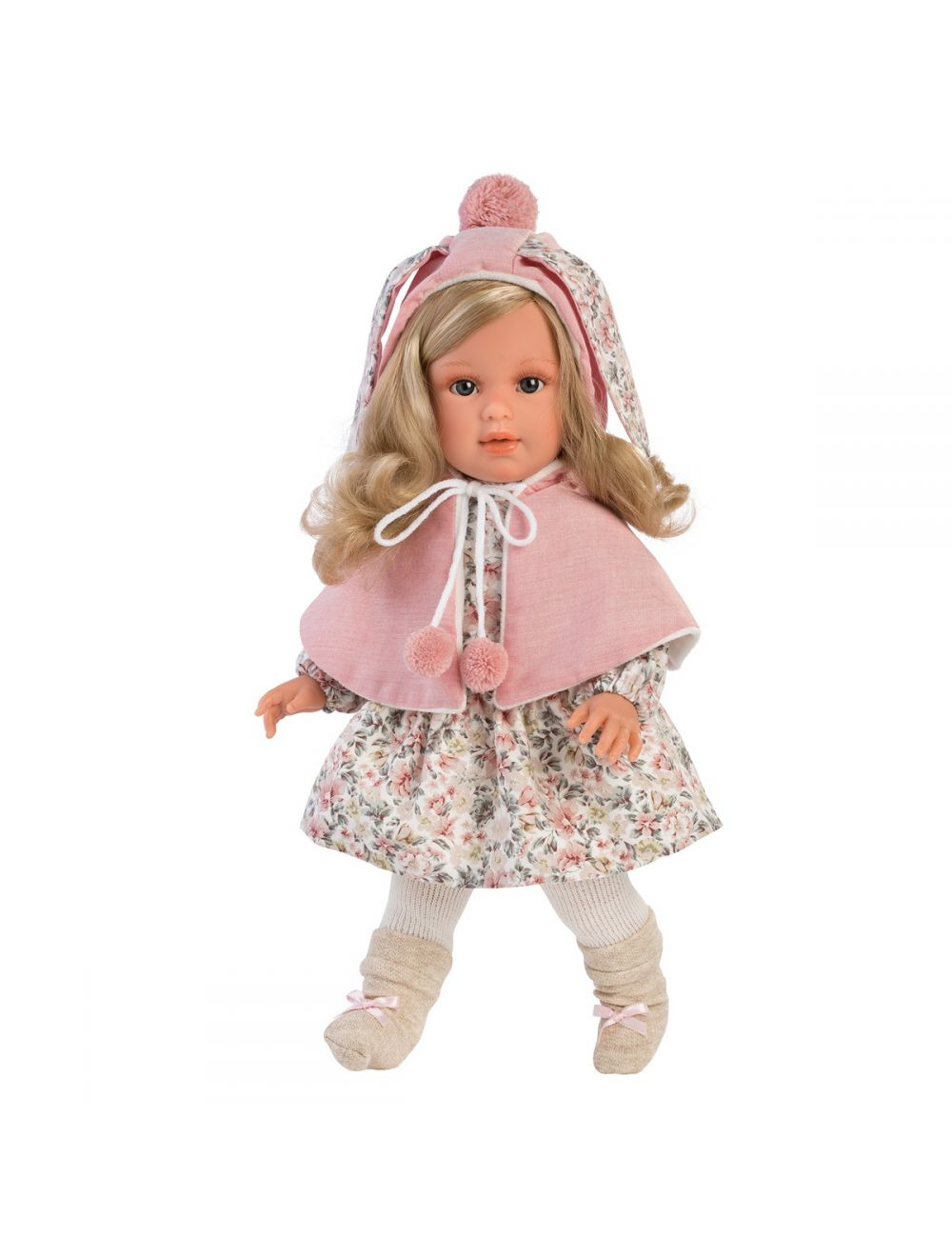 Llorens 54024 Lalka Lucia 40 cm blondynka różowy kaptur
