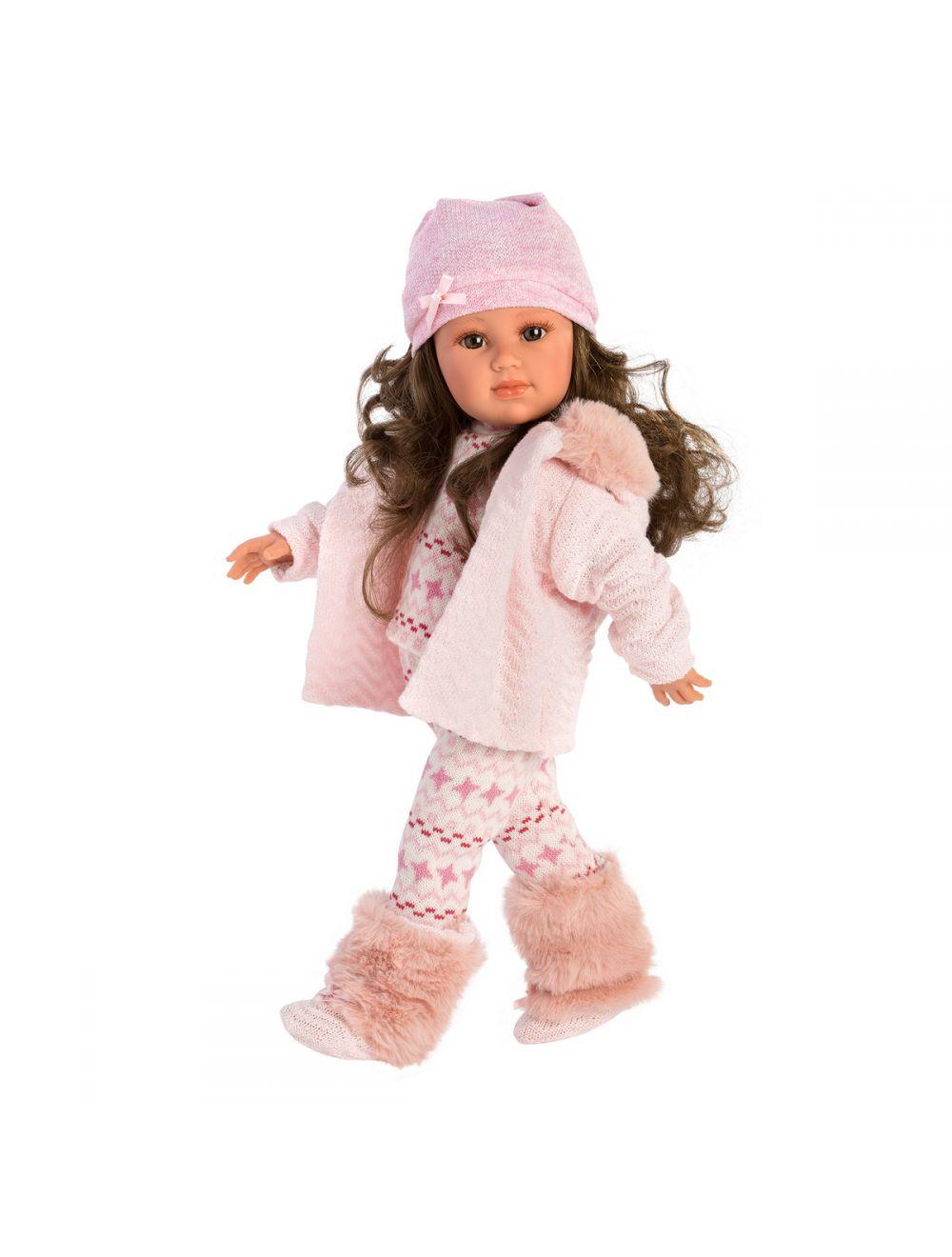 Llorens 54208 Lalka Helene 42 cm brunetka cała różowa FB