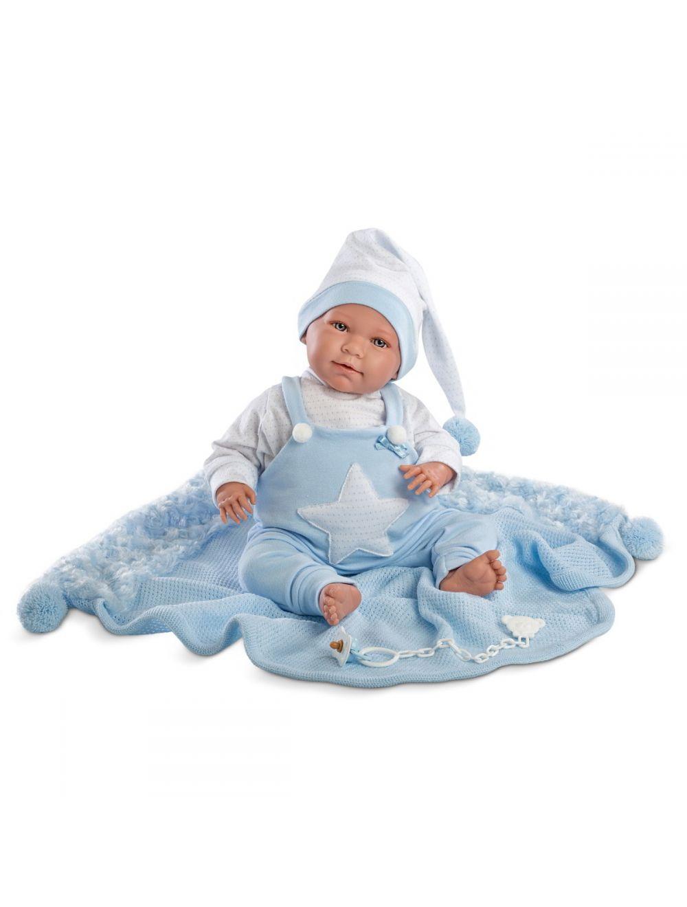 LLORENS Śmiejący się noworodek Lalo w niebieskiej piżamie 42 cm