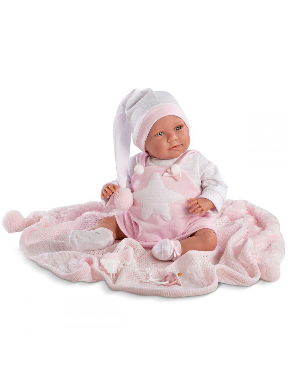 LLORENS Śmiejący się noworodek Lala w różowej piżamie 42 cm