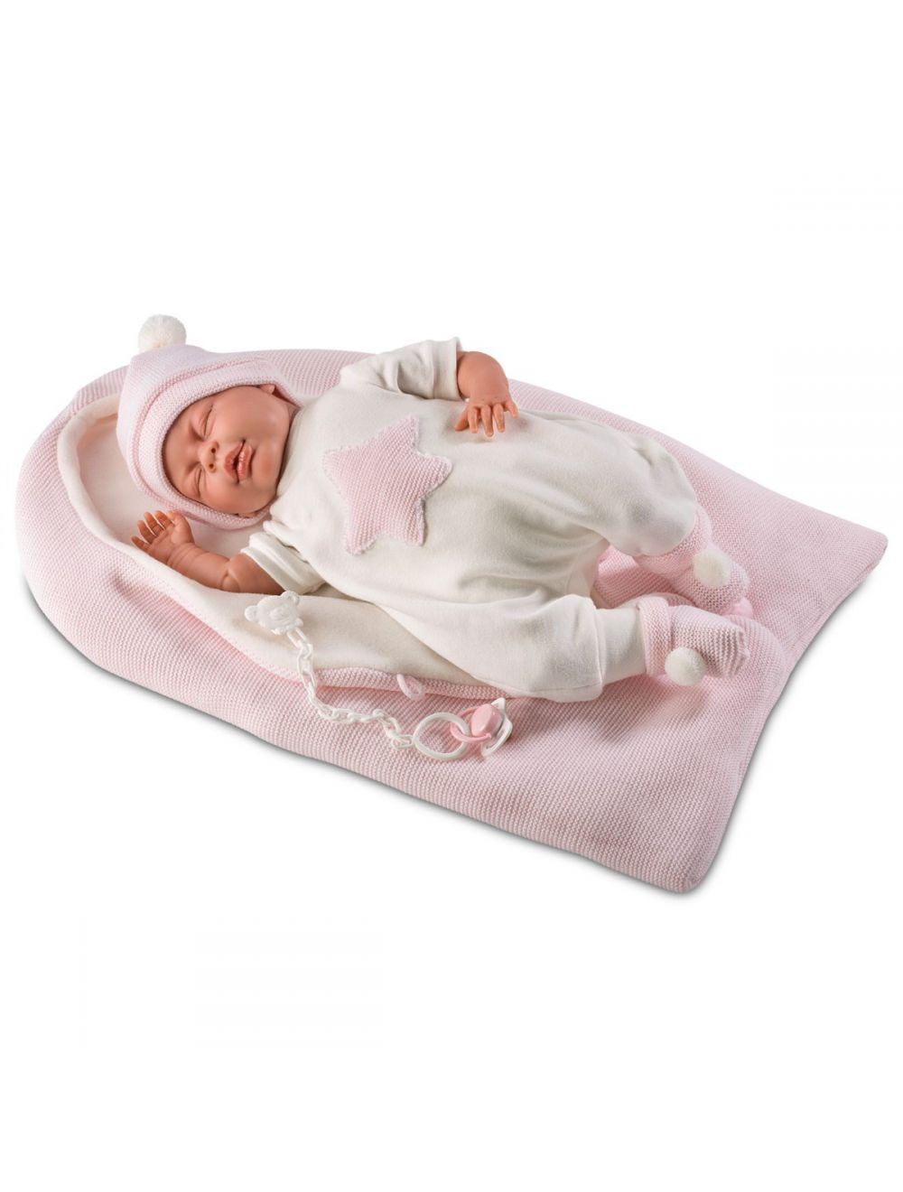 LLORENS Lalka Mimi w różowym śpiworku 40 cm