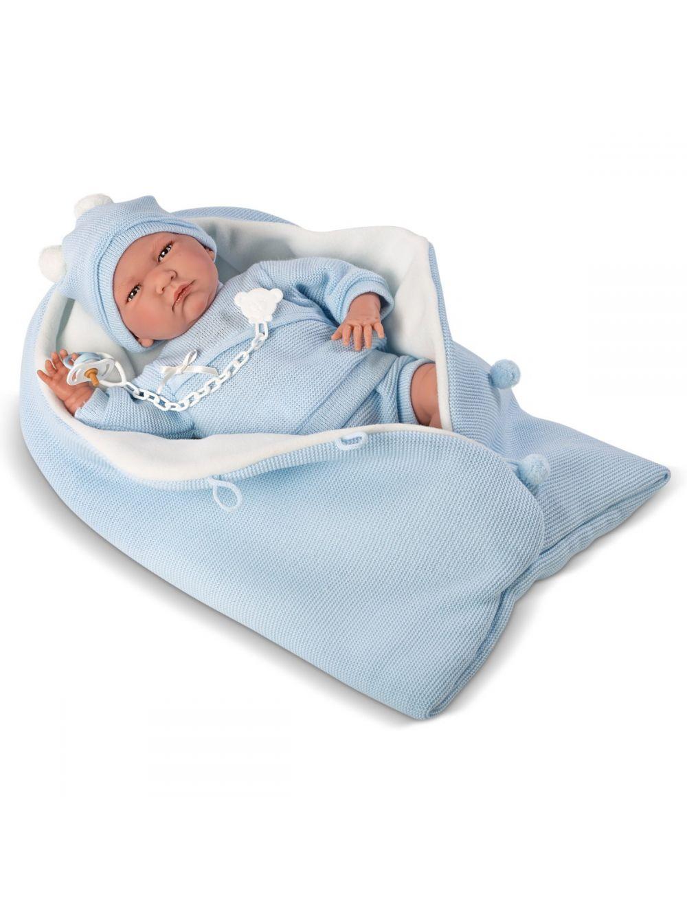 LLORENS Lalka Lalo w niebieskim śpiworku 40 cm
