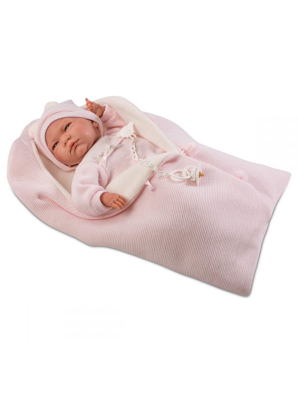 LLORENS Lalka Lala w różowym śpiworku 40 cm