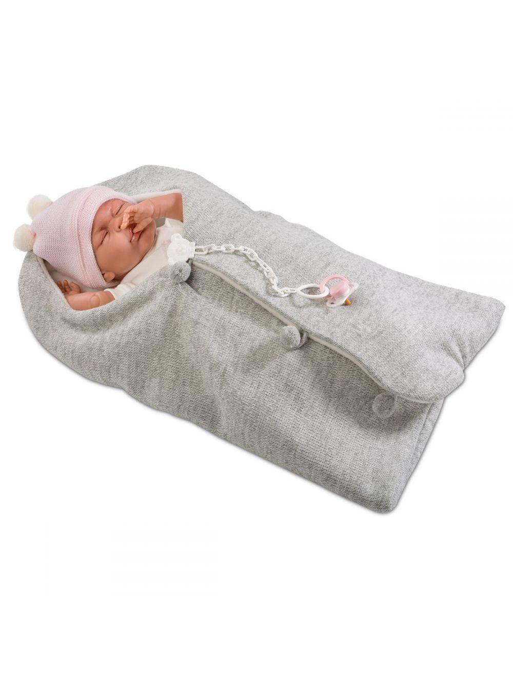 LLORENS Lalka Mimi w szarym śpiworku 40 cm