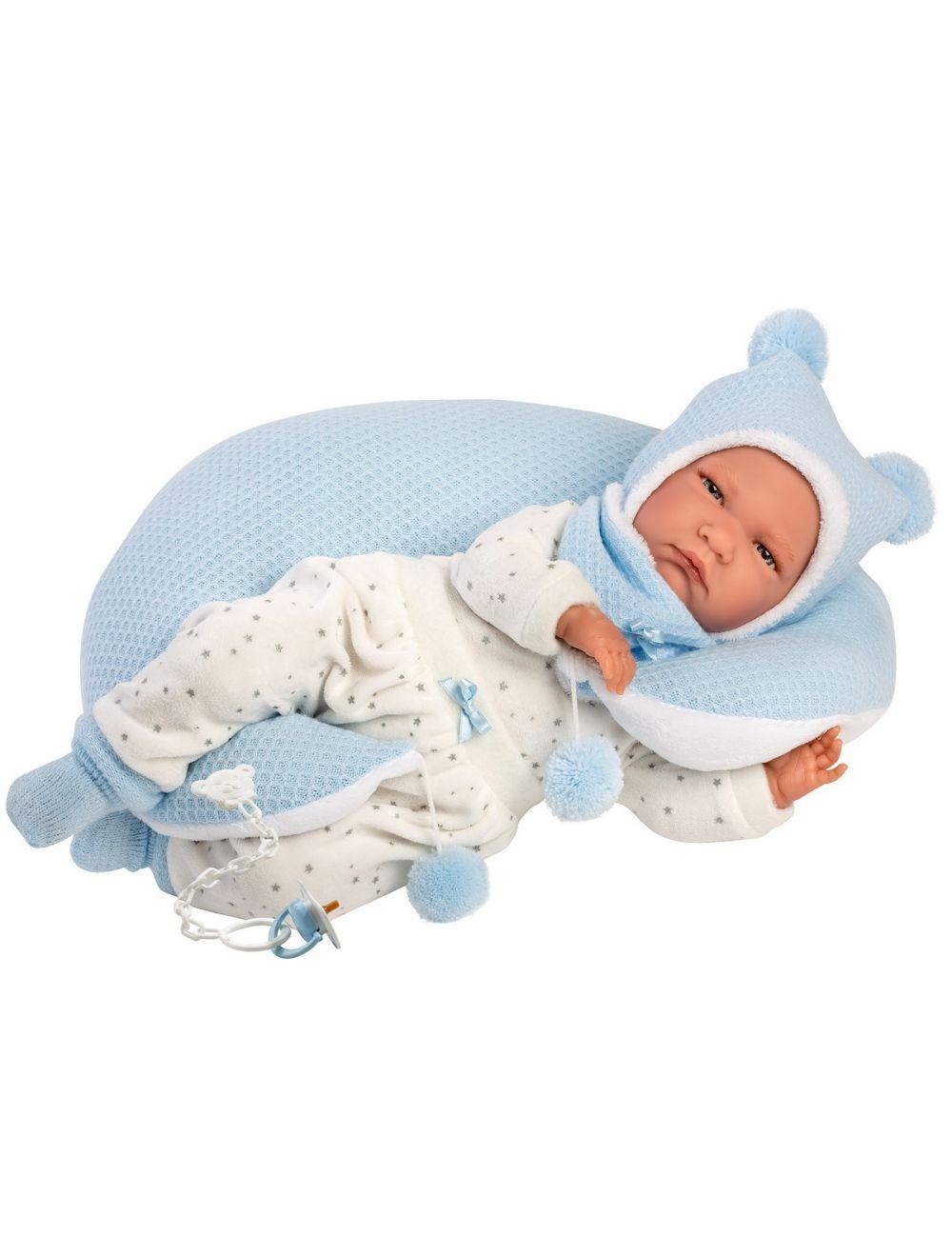 Llorens 74051 Lalka bobas Lalo płaczący 42 cm niebieska poduszka