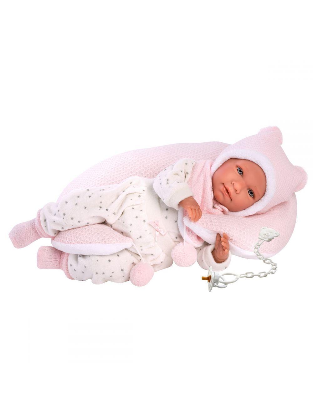 Llorens 74052 Lalka bobas Mimi płacząca 42 cm różowa poduszka
