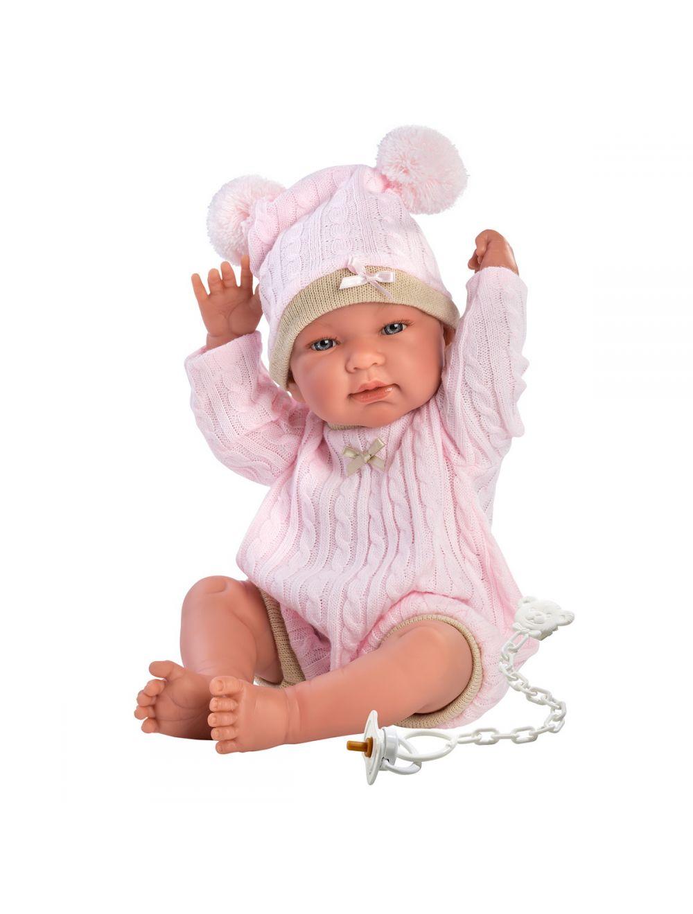 Llorens 84322 Lalka bobas 43 cm różowa czapeczka z pomponami FB