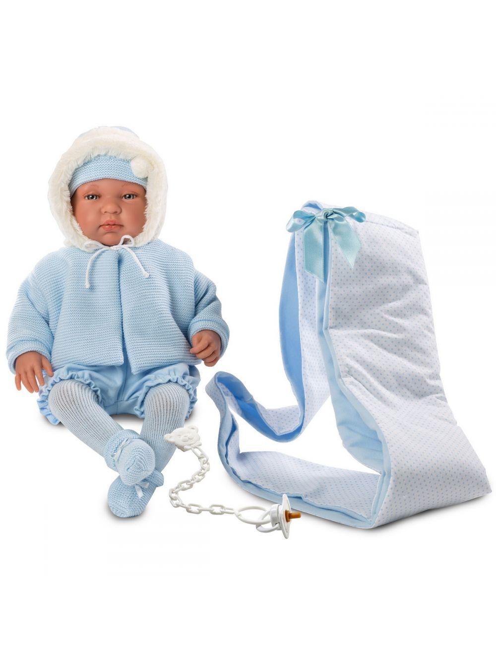 Llorens 84421 Lalka płacząca bobas Bebo 44 cm błękitna chusta