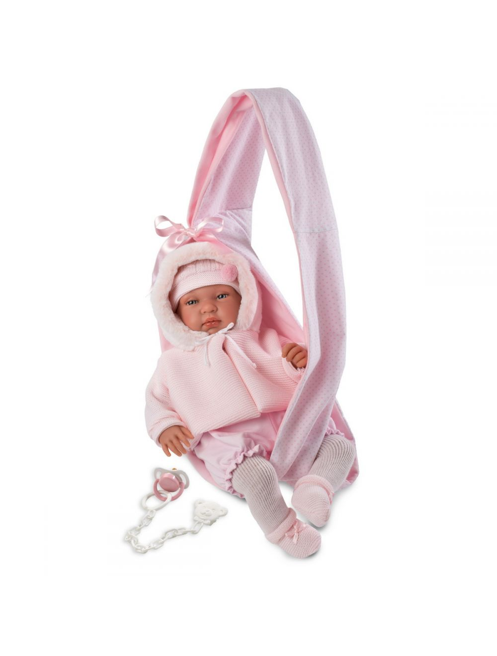 Llorens 84422 Lalka płacząca bobas Beba 44 cm różowa chusta