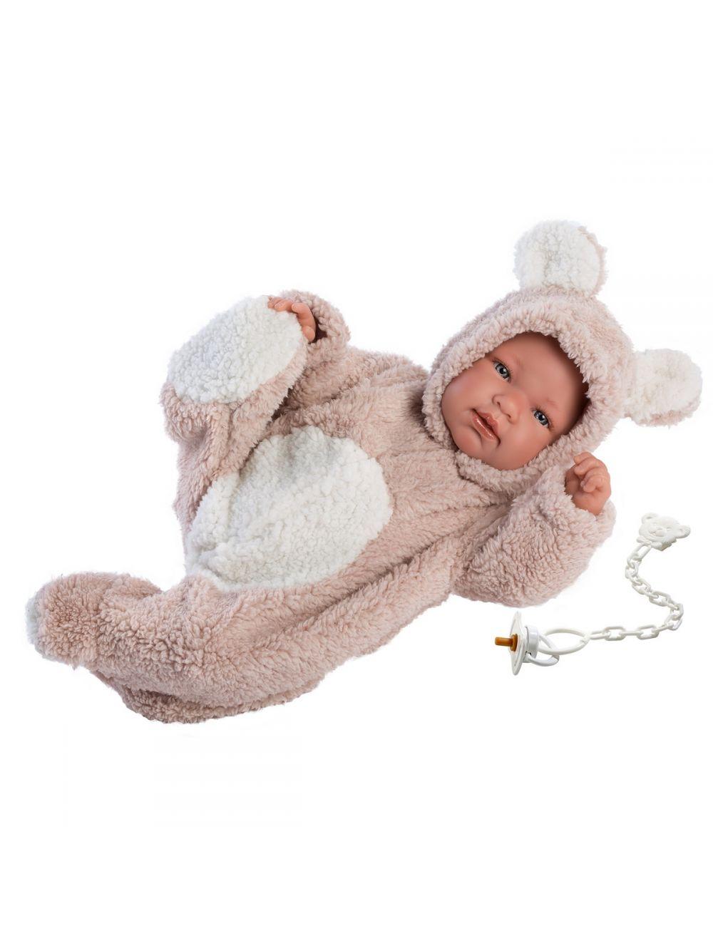Llorens 84426 Lalka płacząca bobas Beba 43 cm pudrowy miś
