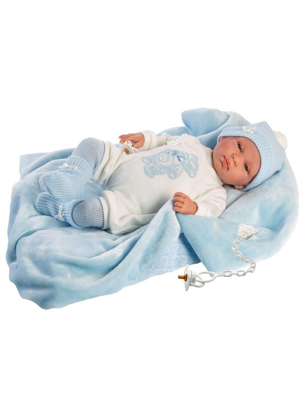 Llorens 84427 Lalka płacząca bobas Tino 43 cm body niebieski miś