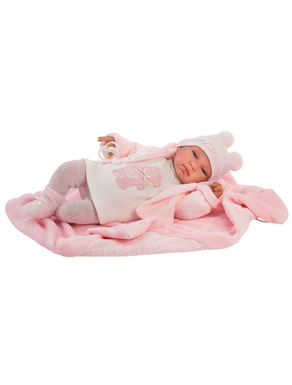 Llorens 84428 Lalka płacząca bobas Tina 43 cm body różowy miś