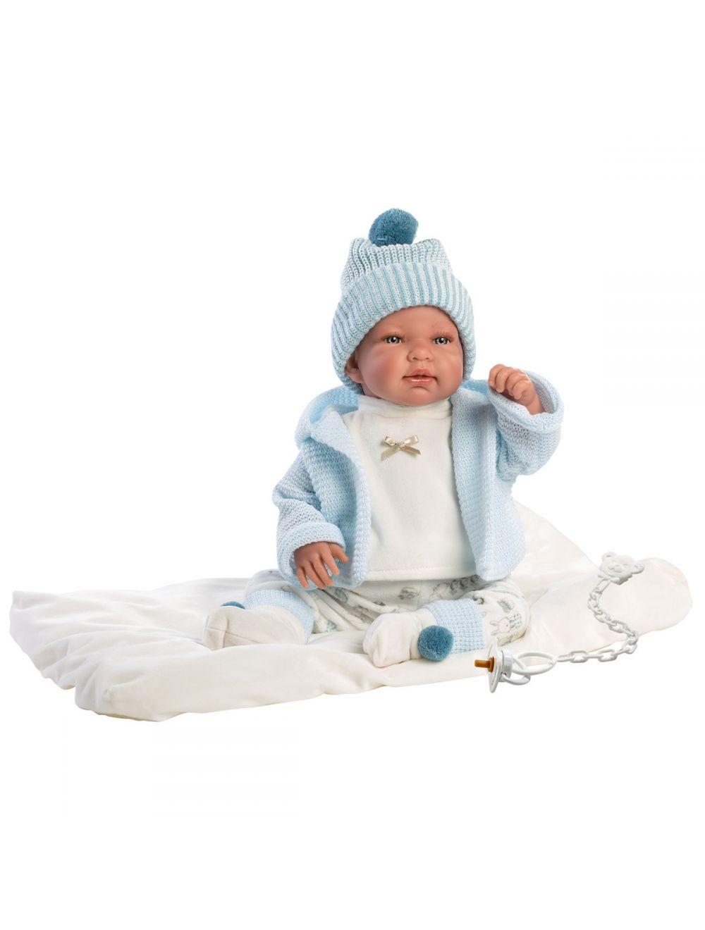 Llorens 84429 Lalka płacząca bobas Tino 44 cm błękitna bluza na białym kocyku