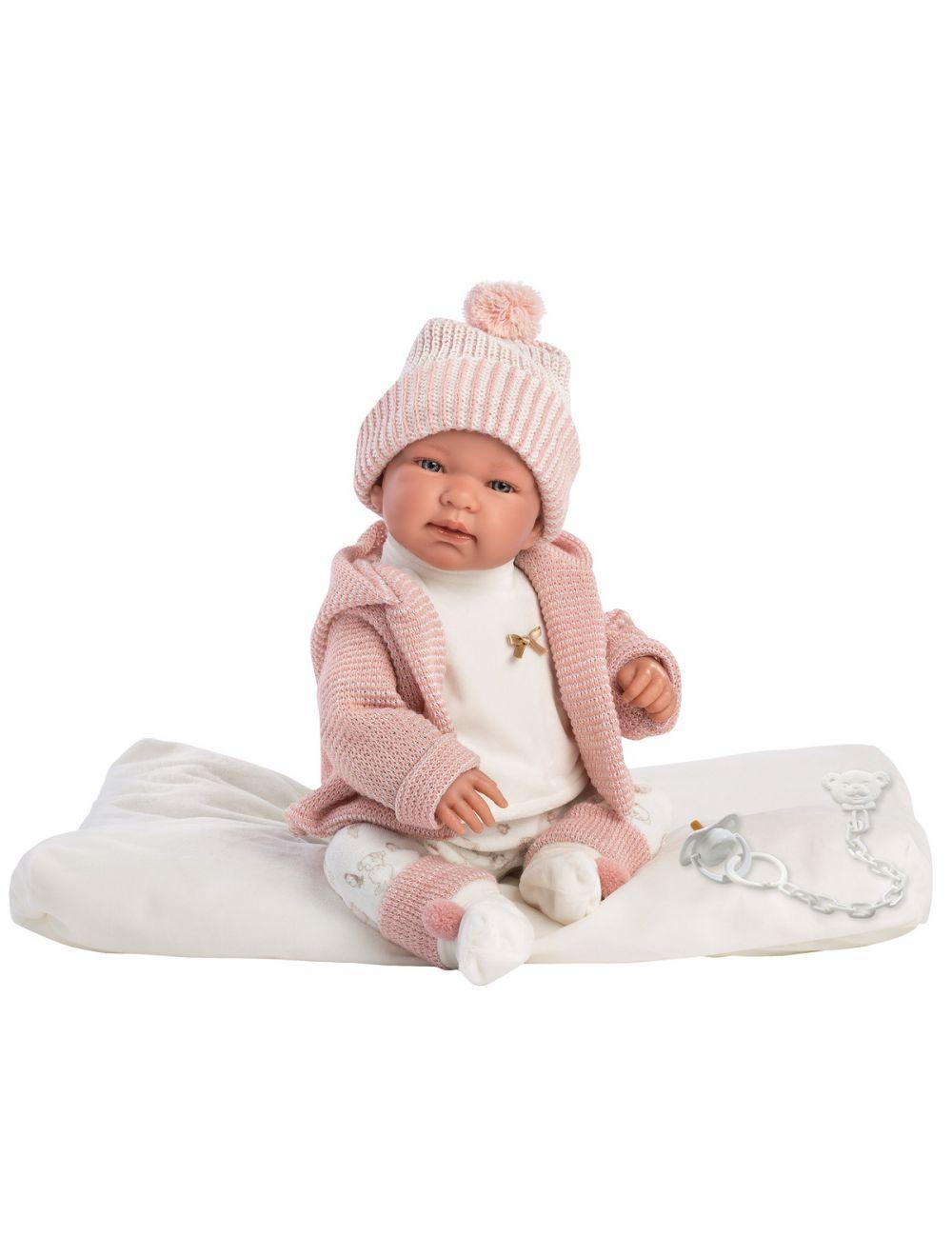 Llorens 84430 Lalka płacząca bobas Tina 44 cm różowa bluza na białym kocyku